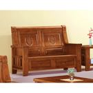 【森可家居】樟木全實木中式復古雙人椅 8SB131-9 雙人沙發 可收納