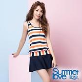 【南紡購物中心】【Summer Love 夏之戀】泳裝 加大尺碼 亮麗條紋二件式(S20702)