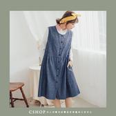 洋裝   日雜推薦壓線棉麻背心洋裝   二色-小C館日系