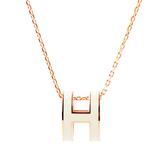 【HERMES】Pop H pendant立體橢圓簍空項鍊(白/玫瑰金) H147991F