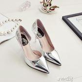 高跟鞋夏新款女士百搭銀色氣質高跟鞋尖頭淺口性感細跟側空單鞋 時光之旅