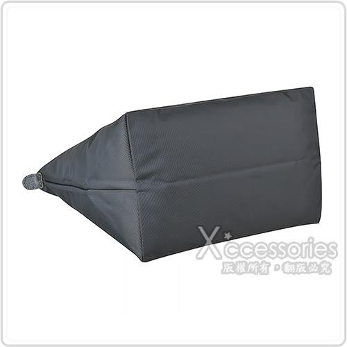 LONGCHAMP COLLECTION刺繡LOGO尼龍摺疊短把拉鍊手提包(中/槍銅x黃)