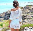 ◇方妮FaNi◇實拍【波紋鏤空斜肩露肩蕾絲洋裝】沙灘裙針織罩衫一字領上衣