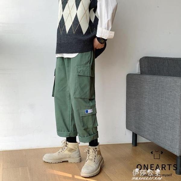 (快出)秋冬寬鬆休閒褲韓版潮流INS港風新款男褲子帥氣CARGO工裝直筒長褲