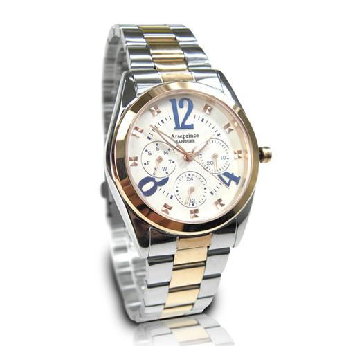 【Arseprince】鑠金方鑽時尚三眼中性錶-藍白