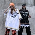 街頭潮流高街T恤 男生街舞中袖T恤 2021情侶女個性歐美短袖T恤 繪畫塗鴉嘻哈潮牌體恤T恤