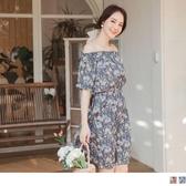 《DA7585》浪漫韓系渡假碎花收腰鬆緊兩穿領洋裝 OrangeBear