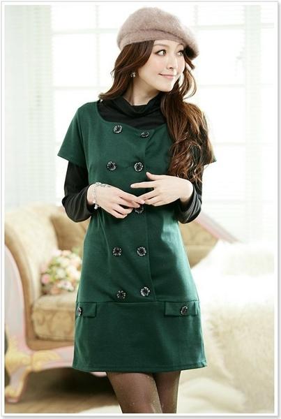 [1500-JK]英倫雙排扣長版上衣也可單穿洋裝~B-zar一字領圓領兩件式~美之札