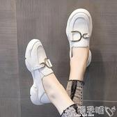樂福鞋 英倫樂福鞋女2020新款一腳蹬厚底松糕小白鞋時尚休閒單鞋百搭豆豆 嬡孕哺