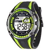 捷卡 JAGA 多功能大視窗 冷光 電子錶 男錶 黑綠色 M980-AF 防水手錶 電子錶 夜光 軍錶 復古 運動錶