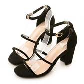 amai小性感雙層一字繫踝粗跟涼鞋 黑