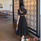 露背洋裝法式赫本風長裙子2021年夏裝新款氣質顯瘦小心機性感露背連身裙女 愛丫 免運