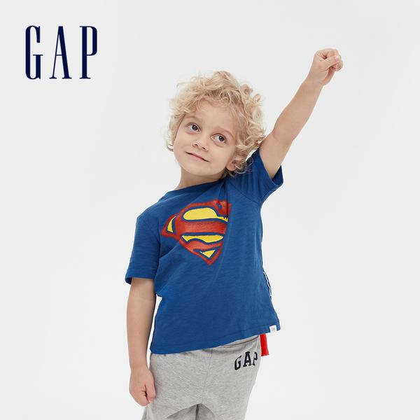Gap男幼Gap x DC正義聯盟系列超人短袖披風T恤545391-清幽藍