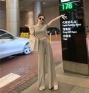 套裝 2020春夏新款韓版兩件套短袖T恤上衣女高腰直筒褲寬管褲時尚套裝
