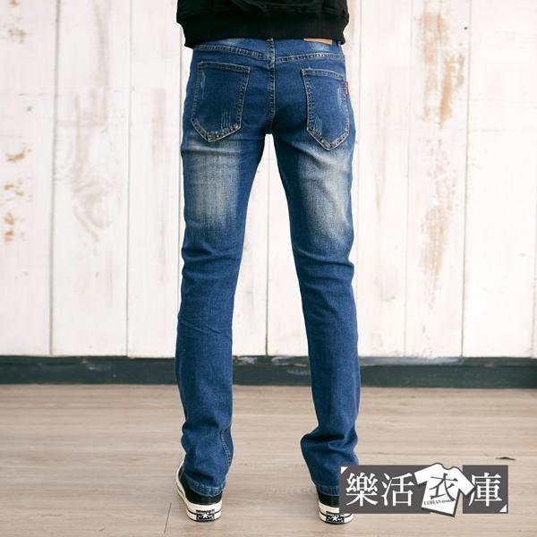 【2098】潮流個性刷破伸縮小直筒牛仔褲(藍色)● 樂活衣庫