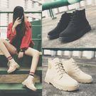 秋冬季百搭學生系帶平底短靴女英倫復古馬丁靴潮