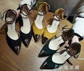 貓跟涼鞋女新款韓版時尚一字扣高跟鞋包頭細跟性感尖頭鞋子潮   伊鞋本鋪
