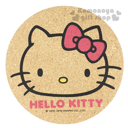 〔小禮堂〕Hello Kitty 圓形軟木製隔熱墊《棕.大臉.粉蝴蝶結.LOGO》隔熱環保兩相宜 4718733-20766