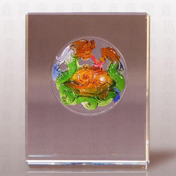 鹿港窯~居家開運M水晶鑲琉璃~五靈-玄武◆附精美包裝◆附古法制作珍藏保證卡◆免運費送到家