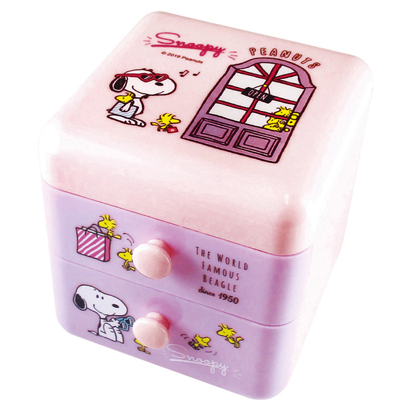 T'S FACTORY 掀蓋式雙層抽屜櫃 SNOOPY置物盒 粉紫