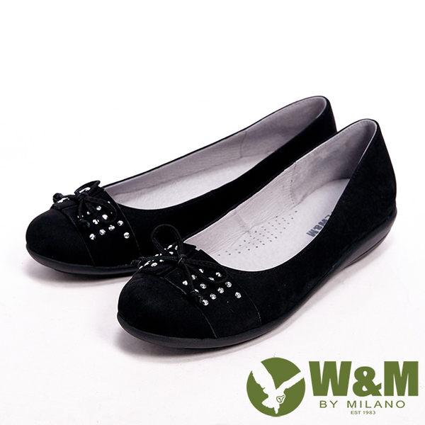 【W&M】 真皮質感亮鑽蝴蝶結休閒平底女鞋- 黑(另有咖)
