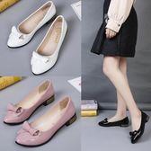 韓版女單鞋低跟百搭尖頭蝴蝶結淺口平底休閒小皮鞋女鞋潮 格蘭小舖