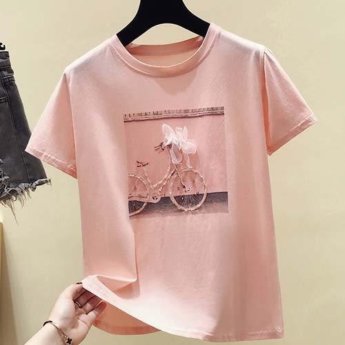 短袖T恤 韓版鑲鑽自行車立體花朵短袖T恤★東京戀人MS.Q★9182