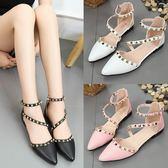 尖頭一字扣帶包頭鉚釘平底涼鞋夏季新款時尚韓版低跟單鞋女鞋 蘑菇街小屋