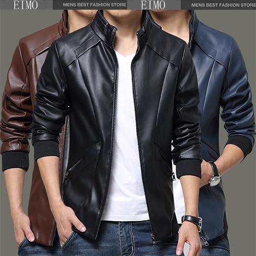 男皮衣外套 皮衣黑色長袖皮夾克 E3001