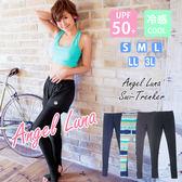 比基尼泳裝-日本品牌AngelLuna 現貨 女款抗UV黑色運動游泳 小中大尺碼速乾內搭褲緊身褲-踩腳款