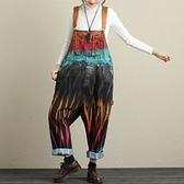 牛仔吊帶褲-個性手繪暈染寬鬆女褲子73sf25[巴黎精品]
