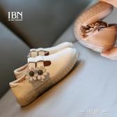 女童鞋子2020新款時尚豆豆鞋春秋款兒童黑色皮鞋小公主鞋軟底單鞋 中秋節全館免運