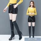 皮褲裙 新款皮短褲女加厚靴褲外穿打底褲黑色PU皮褲大碼女褲 快速出貨