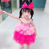 兒童演出服女童連體蓬蓬紗裙舞蹈服幼兒園可愛蛋糕裙現代舞錶演服 3C公社