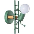 美式復古LED工業風鐵藝小人創意爬樓梯燈兒童房臥室壁燈 【母親節禮物】