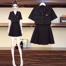 大碼女裝2020年夏季新款微胖妹妹mm套裝遮肉顯瘦半身裙蹦迪兩件套 滿天星