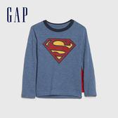 Gap男幼童 DC英雄主題圓領長袖(帶披風) 617864-灰藍色