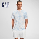 Gap男裝 街頭風紮染休閒短袖T恤 682879-藍色印染