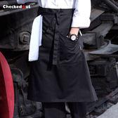雙11特惠-廚師圍裙半身男士圍裙奶茶店服務員廚房工作服圍腰定制咖啡店圍裙