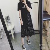 2020韓版孕婦夏裝洋裝中長款短袖時尚款寬鬆外出雪紡純棉裙子 京都3C