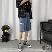牛仔短褲 淺色牛仔褲男潮流短褲夏季韓版ins直筒工裝褲子寬鬆