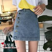 夏季女裝單排扣牛仔裙高腰半身裙A字裙短裙學生 全店88折特惠
