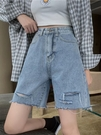 牛仔短褲 夏季2021年新款破洞高腰百搭顯瘦闊腿直筒短褲女港味牛仔褲子寬鬆 韓國時尚 618