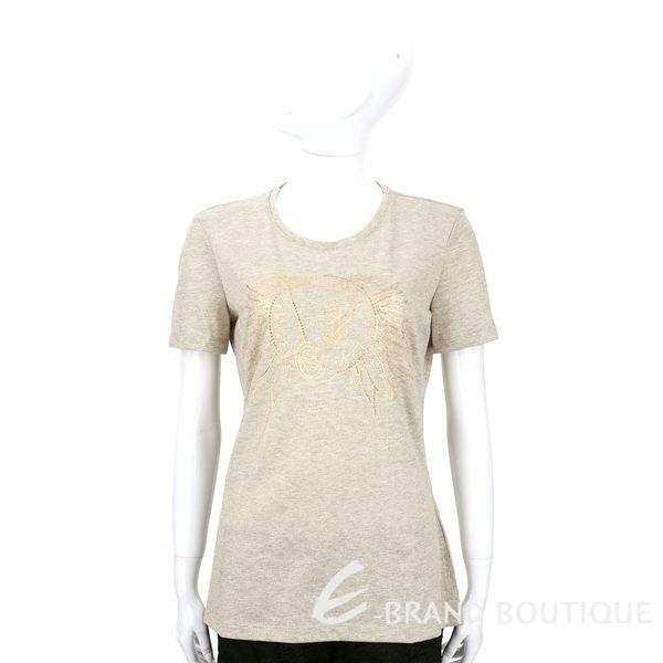 VERSACE 卡其金色貼飾圖騰設計短袖上衣 1540270-24