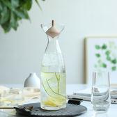 日式陀螺木蓋大容量透明玻璃果汁壺冷水壺涼水壺茶壺