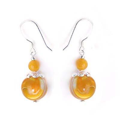 黃金硨磲圓珠純銀耳環