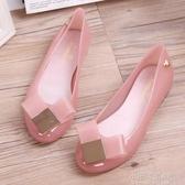 雨鞋 涼鞋夏季果凍鞋女韓潮平底淺口包頭蝴蝶心平跟套腳女士沙灘鞋