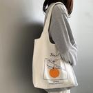 帆布包女單肩文藝韓版簡約百搭學生大容量小清新日系帆布包ins