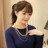 層次珍珠長鍊 Enya恩雅(正韓飾品)【NEAW7】
