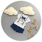 兒童夏裝男0-1-2歲嬰兒短袖套裝3薄款新生兒半袖分體兩件套萬聖節,7折起